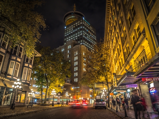 Beautiful-Night-Shot-of-Gastown-Downtown-Vancouver-Photo